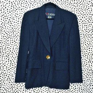 Escada Navy Blue Wool Blazer